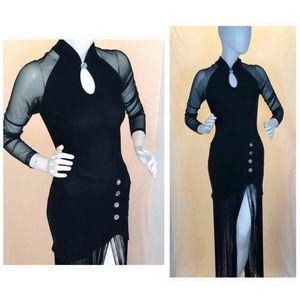 Bandage sheer tassel dress